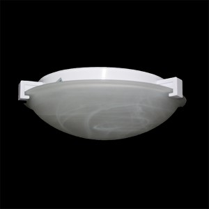 Nuova Polished Chrome 20-Inch Wide One-Light Flush Mount with Marbleized Glass