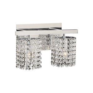 Rigga Two-Light Polished Chrome Vanity Light with Asfour Handcut Crystal Glass