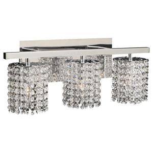 Rigga Three-Light Polished Chrome Vanity Light with Asfour Handcut Crystal Glass