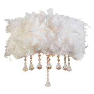 Peacock Polished Chrome Two-Light Wall Sconce with White Ostrich Feather Shade