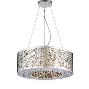 Nest Polished Chrome 22-Inch Wide Six-Light Drum Pendant