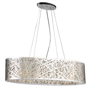 Nest Polished Chrome 33-Inch Wide Six-Light Drum Pendant