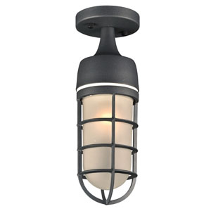 Cage Bronze 5-Inch One-Light Outdoor Semi-Flush Mount
