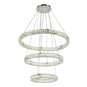 Equis Polished Chrome 32-Inch LED Pendant