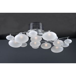 Comolus Eight-Light Polished Chrome Close to Ceiling Light Fixture with Frost Glass -Halogen