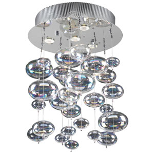 Bubbles Four-Light Polished Chrome Close to Ceiling Light Fixture with Iridescent Glass -Halogen