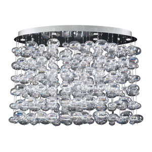 Bubbles Six-Light Polished Chrome Close to Ceiling Light with Iridescent Glass -Halogen