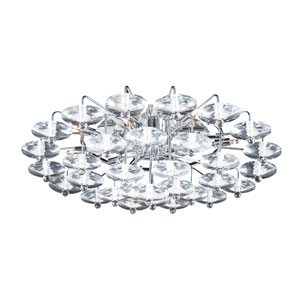 Diamente 12-Light Polished Chrome Ceiling-Light with Asfour Handcut Crystal Glass -Halogen