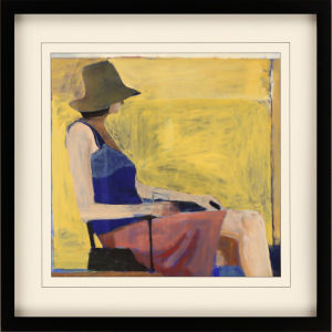 Seated Figure with Hat Yellow Framed Art