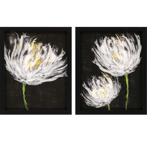 Tulips on Black Black Framed Art, Set of Two