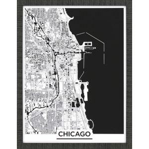 Monochrome Chicago Black Framed Art