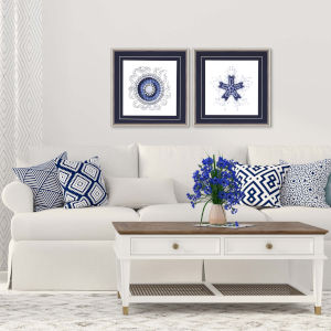 Navy Gems II Blue Framed Art, Set of Two