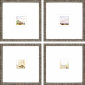 Petite Placid Multicolor Framed Art, Set of Four