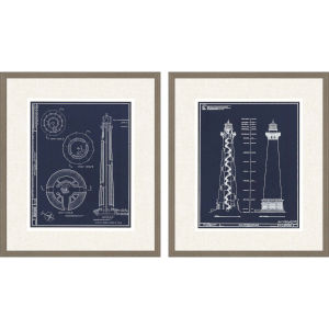 Libby Langdon Lighthouse I Blue Framed Wall Art, Set of 2