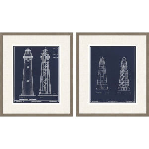 Libby Langdon Lighthouse II Blue Framed Wall Art, Set of 2