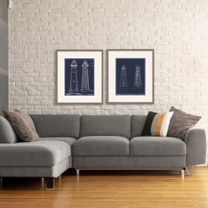 Libby Langdon Lighthouse II Blue Framed Wall Art, Set of 2