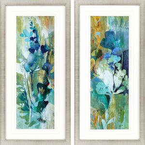 Botanical Illusion Turquoise Framed Wall Art, Set of 2