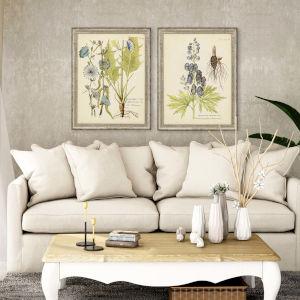 Eloquent Botanical Blue Framed Wall Art, Set of 2