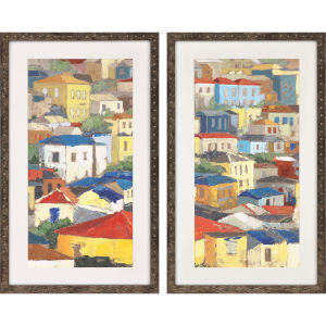 Primary Rooftops Multicolor Framed Wall Art, Set of 2