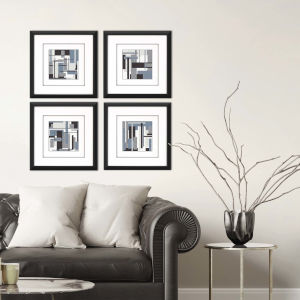 Libby Langdon Black Collide Framed Art, Set of 4