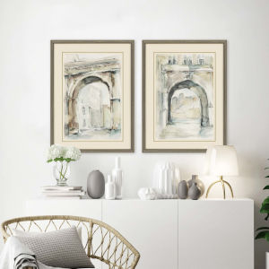 Neutral 32 H x 24 W-Inch Watercolor Arches II Wall Art, Set of 2