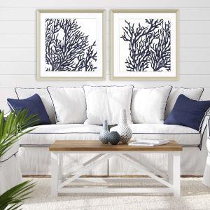 Blue 32 H x 32 W-Inch Blue Coral I Wall Art, Set of 2