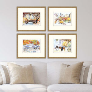 Multicolor 23 H x 27 W-Inch Autumn in New York Wall Art, Set of 4