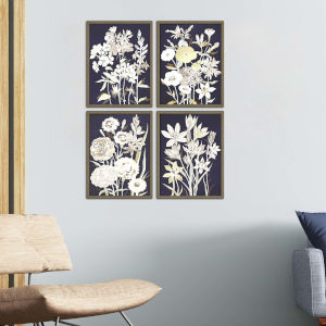 Blue 17 H x 13 W-Inch Midnight Florals Wall Art, Set of 4