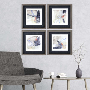 Blue 19 H x 19 W-Inch Abstract Coordinates Wall Art, Set of 4