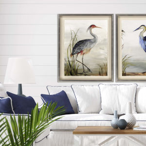 Blue 44 H x 35 W-Inch Grey Heron Wall Art
