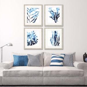 Blue 28 H x 24 W-Inch Inkwash Kelp Wall Art, Set of 4