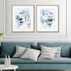 Blue 34 H x 28 W-Inch Azure Abstract Wall Art, Set of 2