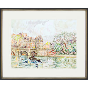Paris Le Place Dauphine Multicolor Framed Art