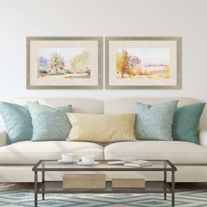 Sunrise Serene Multicolor Framed Art, Set of Two
