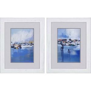 Boats Blue Framed Art, Set of Two