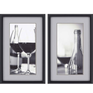 Wine I Neutral Framed Art, Set of Two