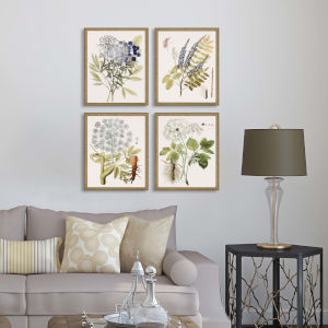 Lacy Leaves Neutral Framed Art, Set of Four