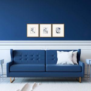 Mayhem I Blue Framed Art, Set of Three