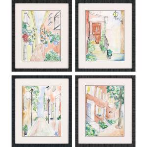 Strolling Multicolor Framed Art, Set of Four