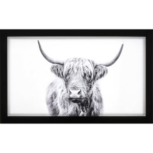 Horned Bull Gray Framed Art