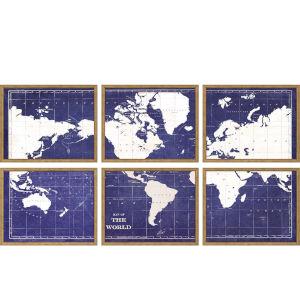 Blueprint Map Blue Framed Wall Art, Set of 6