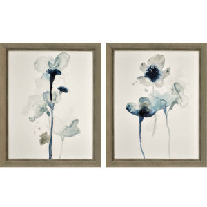 Midnight Blossom I Blue Framed Art, Set of Two