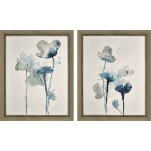 Midnight Blossom II Blue Framed Art, Set of Two