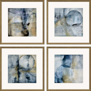 Sphere Blue Framed Art, Set of Four