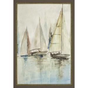 Blue Sailboats III Blue Framed Art