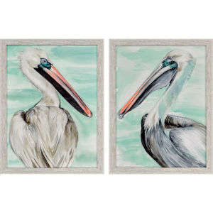 Turquoise Pelican Turquoise Framed Art, Set of Two