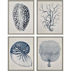 Coastal Blue Framed Art, Set of Four