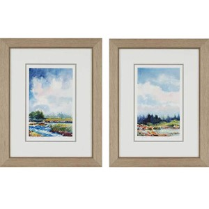 Marsh and Riverbed by Leonard: 28 x 22 Framed Giclee Printed, Set of 2