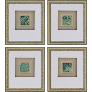 Greenery Tiles by Unknown: 19 X 17-Inch Framed Art , Set of Four