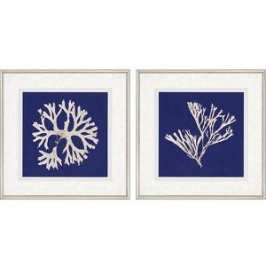 Seaweed on Navy: 27 x 27 Framed Giclee Printed, Set of 2